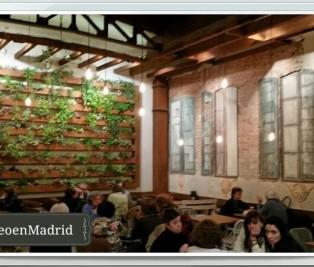 Cafe restaurante Sky Madrid patio con jardin vertical Te Veo en Madrid