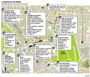 Mapa de la noche de los Libros de El País