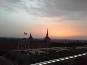 Terraza de poniente hotel exe puesta de sol Te Veo en Madrid